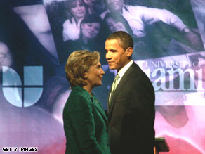 Sen. Hillary Clinton and Sen. Barack Obama at the University of Miami for a Univision debate in September 2007, Miami, Florida.