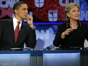 Democratic presidential candidates Hillary Clinton and Barack Obama.
