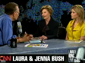 Laura Bush and daughter Jenna appeared on CNN's Larry King Live Thursday.