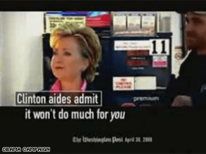 The Obama campaign is out with a new TV ad on Clinton's gas tax proposal.