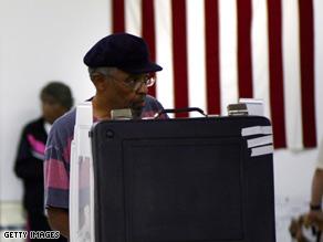 A man votes in Wilmington, North Carolina.