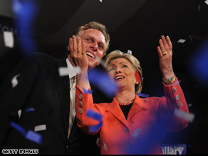 Sen. Clinton celebrates with Terry McAuliffe after her win in West Virginia.  McAuliffe is Clinton's campaign chairman and is known as a legendary fundraiser in Democratic circles.