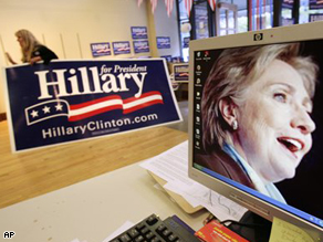 Clinton campaign headquarters in Billings, Montana on June 3, 2008 as polls closed.