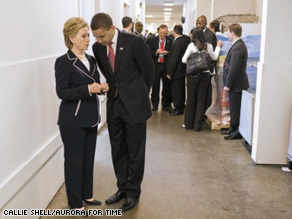 Senators Clinton and Obama at AIPAC on Wednesday. This photo appears in the current issue of TIME magazine (6/6/08).