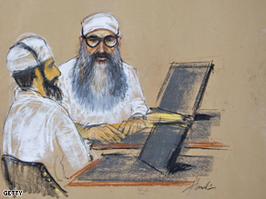 Court sketch of Khalid Sheikh Mohammed and Waleed bin Attash, two of the September 11, 2001 attacks co-conspirator suspects.