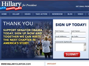 Sen. Clinton's campaign Web site took on a new look Saturday as she endorsed Sen. Barack Obama.