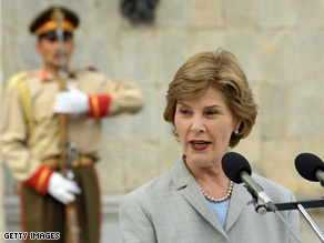 Laura Bush addresses the press at the Presidential Palace in Kabul Sunday.