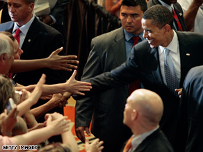 Sen. Barack Obama shakes hands at after an event in Virginia.