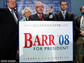 Former Republican congressman Bob Barr is running as a Libertarian candidate for president.