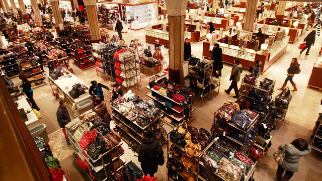 Consumers look for values at a department store earlier this year.