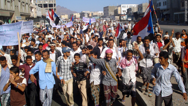 Yemenis demonstrate against a government raid that killed suspected al Qaeda members in Yemen's Shabwa province.