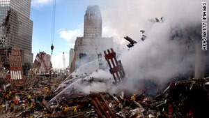 The World Trade Center site three days after the September 11, 2001 terrorist attack.