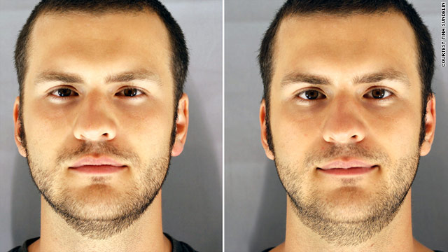 People tend to look less attractive and healthy when sleep-deprived (left) than when well-rested (right), a new study finds.