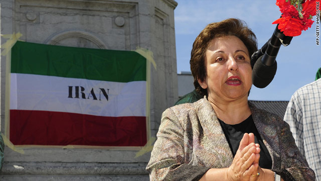 Shirin Ebadi speaks in Belgium after the disputed 2009 Iranian elections.