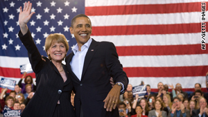 President Obama campaigns with Democratic Senate candidate Martha Coakley on Sunday in Massachusetts.