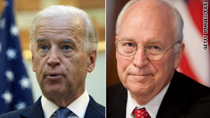 Vice President Joe Biden, left, sparred with his predecessor, Dick Cheney, during talk show appearances Sunday.