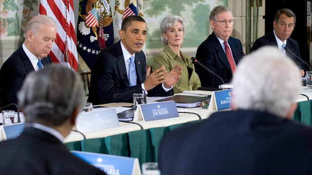 President Obama discusses health reform Thursday alongside Democrats and Republicans.