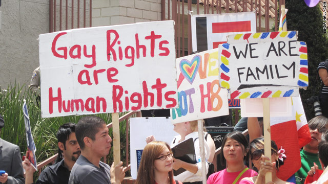 Protesters make their case at an anti-Proposition 8 rally in east Los Angeles, California, on May 26, 2009.