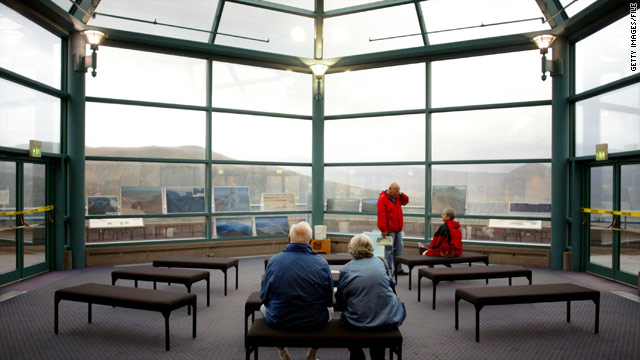 A visitor center at Mount St. Helens, seen in 2004, is now closed, but got new windows under a stimulus project.