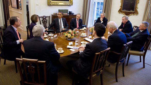 President Obama meets with Democratic and Republican leaders at the White House on November 30.