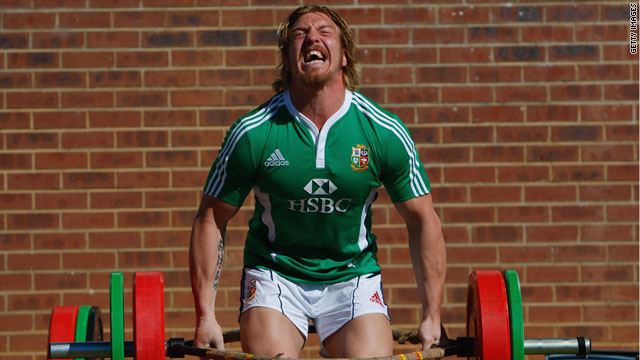 Andy Powell during a weights session for the British and Irish Lions