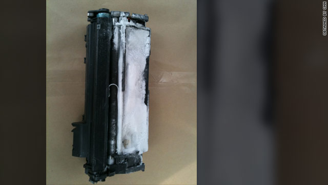 Authorities say this was the device found in Dubai that was to be shipped on a FedEx flight to the U.S.