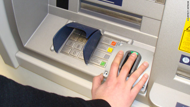 """The  ATM runs on the latest in """"finger vein"""" technology, with an infrared light detecting a unique pattern of micro-veins."""