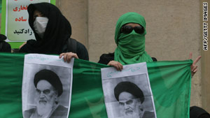 Iranian opposition supporters demonstrate at Tehran University's campus last month.