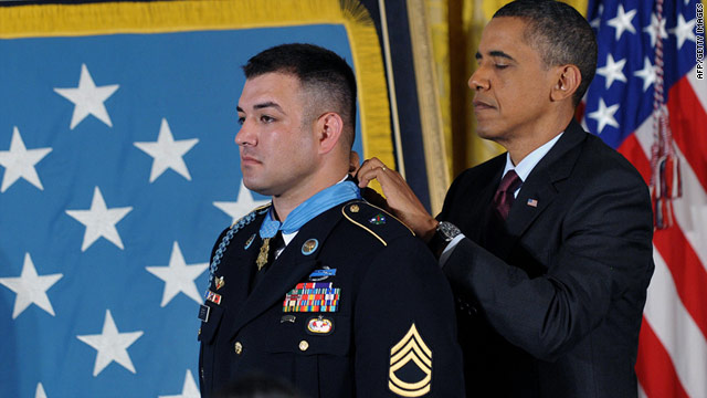 Sgt. 1st Class Leroy Arthur Petry, who lost a hand tossing a grenade away from fellow soldiers, receives the Medal of Honor.