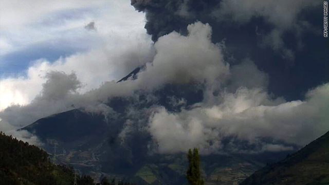 An explosion of Tungurahua volcano can be seen from Guadalupe observatory in Tungurahua province, Ecuador, Tuesday.