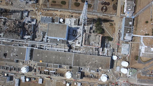 An aerial view of the damaged Fukushima Daiichi nuclear power plant.