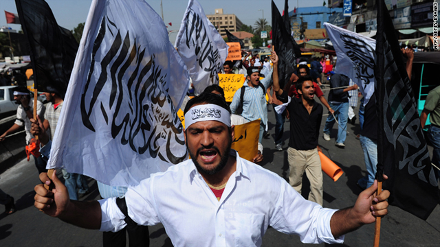 File photo of Hizb ut-Tahrir activists shouting anti-government slogans during a protest in Karachi on April 17.