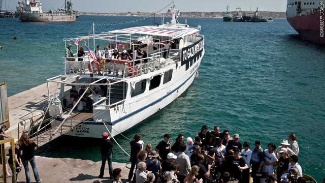 "Passengers on ""The Audacity of Hope"" prepare to set sail from Athens Thursday to join the flotilla to Gaza."