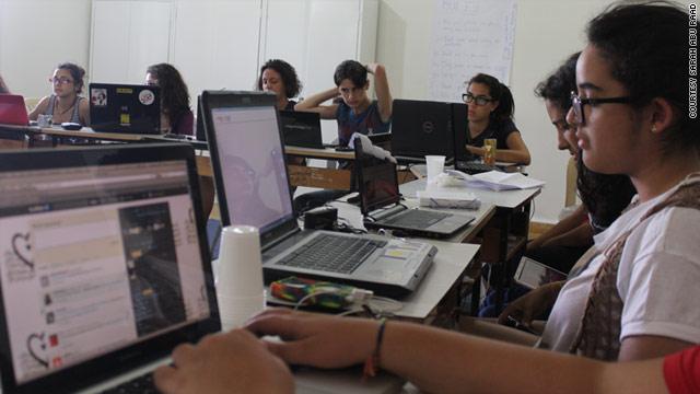 Teenagers taking part in Girl Geek Camp Lebanon July 8-14, 2011