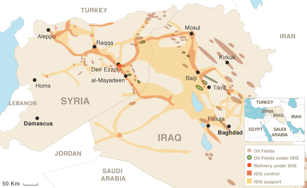 Oil fields in Iraq and Syria