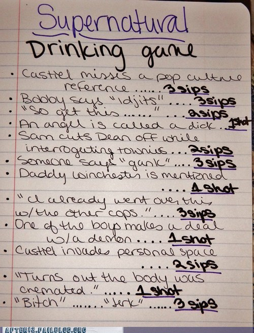 supernatural the drinking game