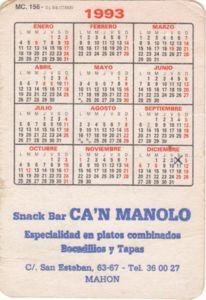 Kalender Tahun 1993 : kalender, tahun, Pocket, Calendar:, Snack, Manolo, (Spain), Col:ESP-1993, -Zodiac-001.05