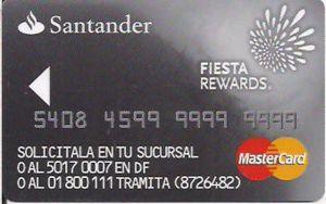 Hotel Key Card Santander Fiesta Rewards Silver Fiesta