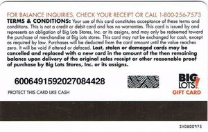 The latest review horrible customer service was posted on jul 15, 2021. Gift Card Big Lots Big Lots United States Of America Big Lots Col Us Big Lots 009 Sv0800975