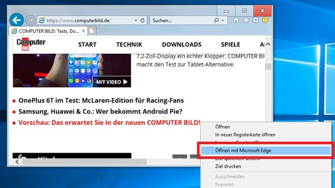 Windows 10 1809: Internet Explorer öffnet per Kontextmenü Edge - COMPUTER BILD