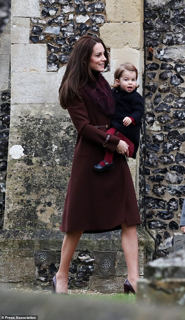 Duchess of Cambridge at St Mark's Church in Englefield, Berkshire.