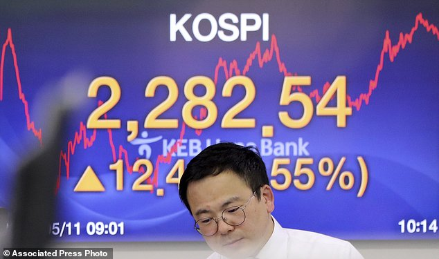 A currency trader stands near the screen showing the Korea Composite Stock Price Index (KOSPI) at the foreign exchange dealing room in Seoul, South Korea, Thursday, May 11, 2017. Asian stocks were moderately higher on Thursday with few data reports to move the markets. Investors are watching tax reform developments in the U.S. after President Donald Trump's firing of the FBI chief.  (AP Photo/Lee Jin-man)