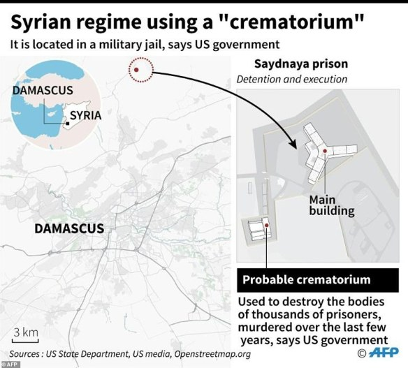 This map shows the relation to the prison of the crematorium, and their proximity to the Syrian capital of Damascus. It's believed that the execution orders came from top officials