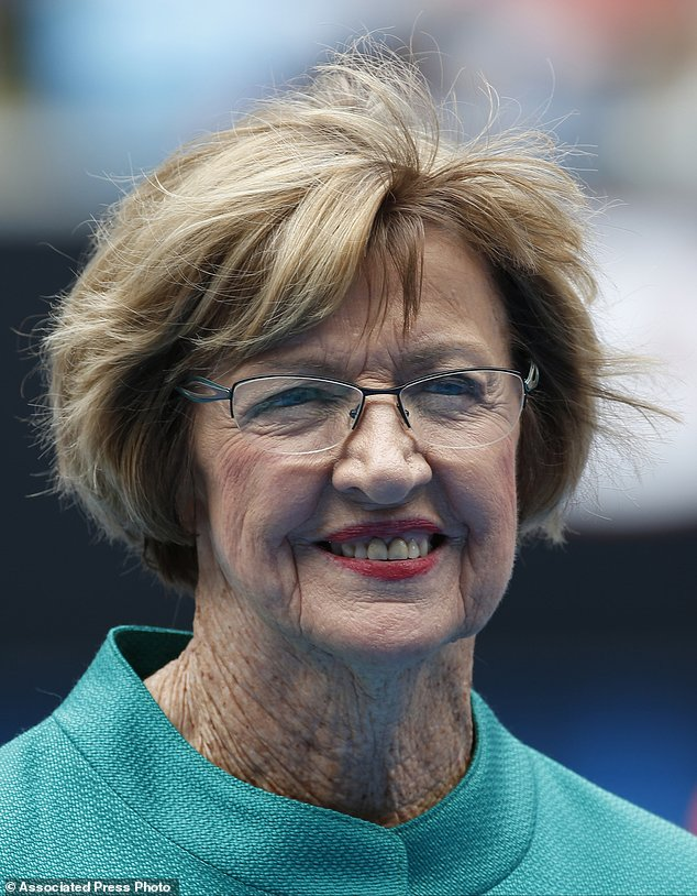 "In this Jan. 26, 2015 photo, Australian tennis great Margaret Court smiles during the official launch of the remodeled Margaret Court Arena at the Australian Open tennis championship in Melbourne. Former tennis great and now Christian pastor Court says she will stop using Qantas ""where possible"" in protest over the Australian airline's promotion of same-sex marriage. ""I am disappointed that Qantas has become an active promoter for same-sex marriage,"" Perth resident Court said in the letter published Thursday, May 25, 2017, in The West Australian newspaper. (AP Photo/Vincent Thian)"