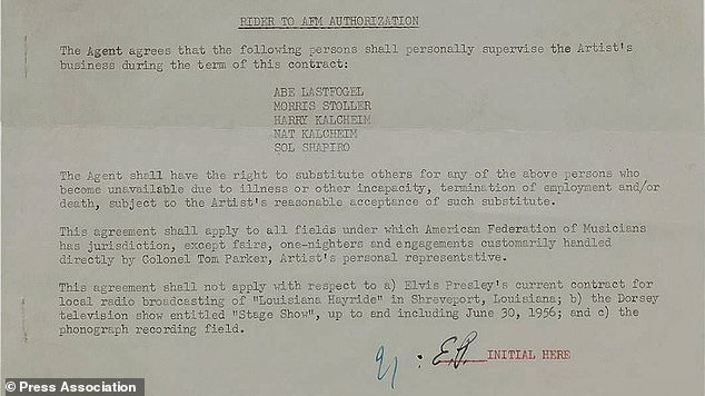 Elvis Presley´s first music contract goes under the hammer
