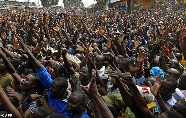 Vast crowds cheer Kenya's opposition leader Raila Odinga as he makes his first public comments since results showed him losing the August 8 presidential election