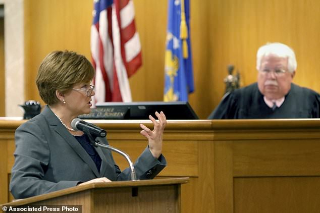 "Defense Attorney Maura McMahon makes a closing argument in the case of Anissa Weier before Waukesha County Circuit Court Judge Michael Bohren on Friday, Sept. 15, 2017, in Waukesha, Wis. Weier, accused of helping her friend stab their classmate nearly to death to please online horror character Slender Man was lonely, depressed and descended into ""madness,"" her attorney said Friday as she pleaded with a jury to send the girl to a mental hospital rather than prison. (C.T. Kruger /Milwaukee Journal-Sentinel via AP, Pool)"