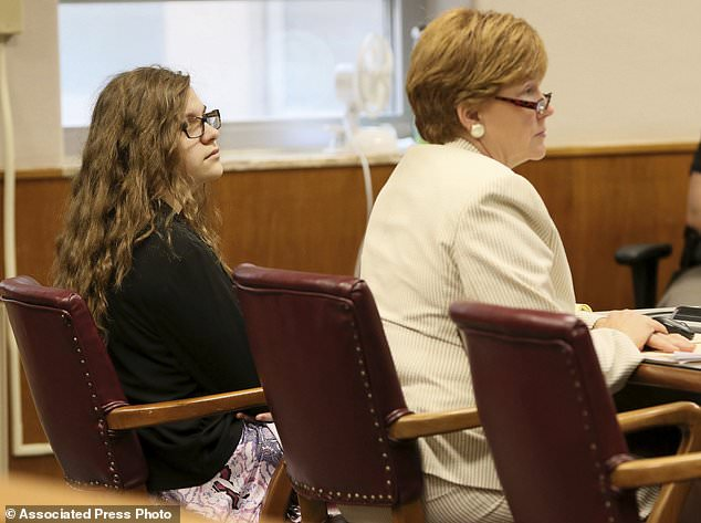 Anissa Weier, left, sits in court Thursday, Sept. 14, 2017, in Waukesha County Court, Waukesha County, Wis. Prosecutors allege that Weier and her friend, Morgan Geyser, lured classmate Payton Leutner into a Waukesha park in May 2014 and stabbed her 19 times. The girls have said it was an effort to  to please a fictional horror character known as Slender Man.  (Michael Sears//Milwaukee Journal-Sentinel via AP, Pool)