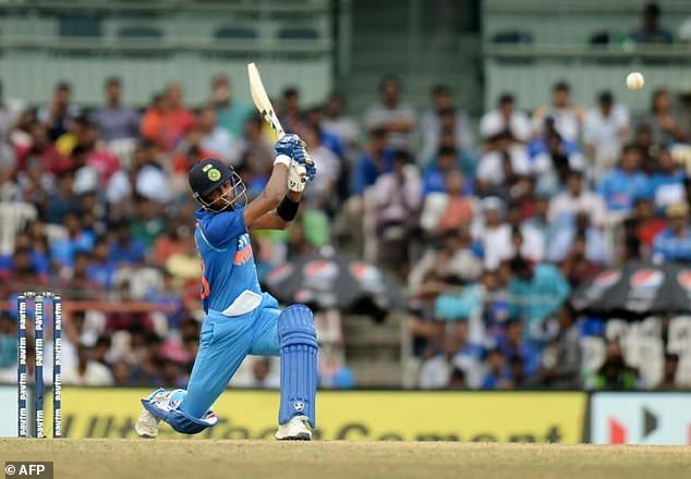 Indian cricketer Hardik Pandya plays a shot during the first one day international cricket match in the India-Australia series at the M A Chidhambaram stadium in Chennai on September 17, 2017