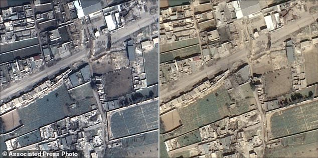 The satellite images show Douma near Damascus on February 23, 2018, left, and the same area on March 2, 2018 with a destroyed building at the centre of the right image
